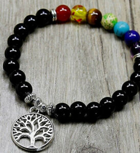 542c99364977e UK 7 Chakra Natural Stone Gemstone Beaded Tree of Life Charm Crystal ...