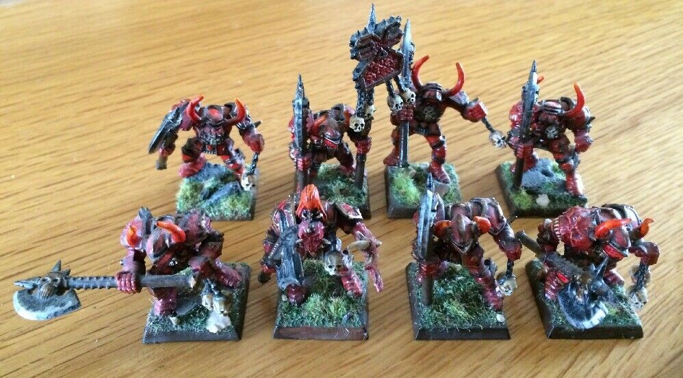 Warhammer GW Miniatures Daemons Of Khorne & Bearer PRO Painted Lot Of 8 OOP RARE