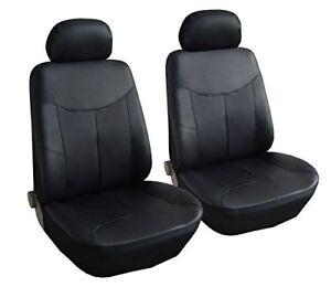 2er-Kunstleder-Schonbezuege-Schwarz-Autositzbezuege-fuer-Peugeot-Renault-Seat-VW