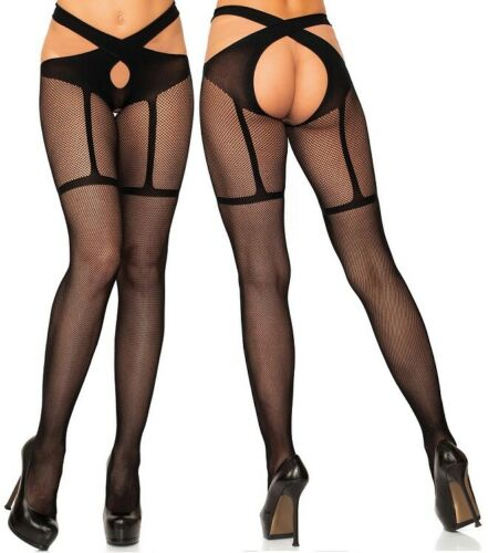 Faux Garter//Suspender Fishnet Wrap Around Crotchless Tights Open Crotch//Gusset