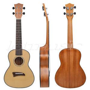 Top-Solid-Spruce-Concert-Ukulele-23-inch-Hawaii-Guitar-Mahogany-Bone-Saddle