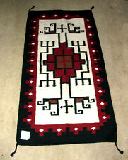 "Throw Rug Tapestry Southwest Western Hand Woven Wool 32x64"" Replica #210"