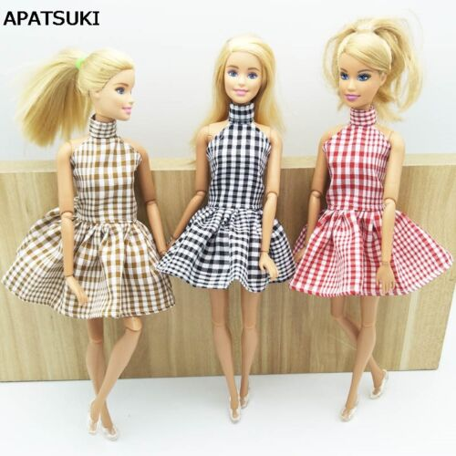 1:6 Fashion Dress For 11.5 Doll Plaid Party Dress Clothes For 1/6 Dollhouse
