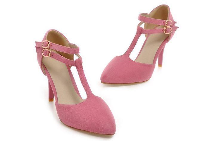 Décollte Schuhe Pumps Frau Stift Stift Stift Absatz 9 cm Stilett Gurt rosa 8862 3f338f