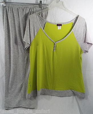 Women's Sleepwear Lounge S/S Shirt & Capri Pants Grey Lime Green (XL) X Large