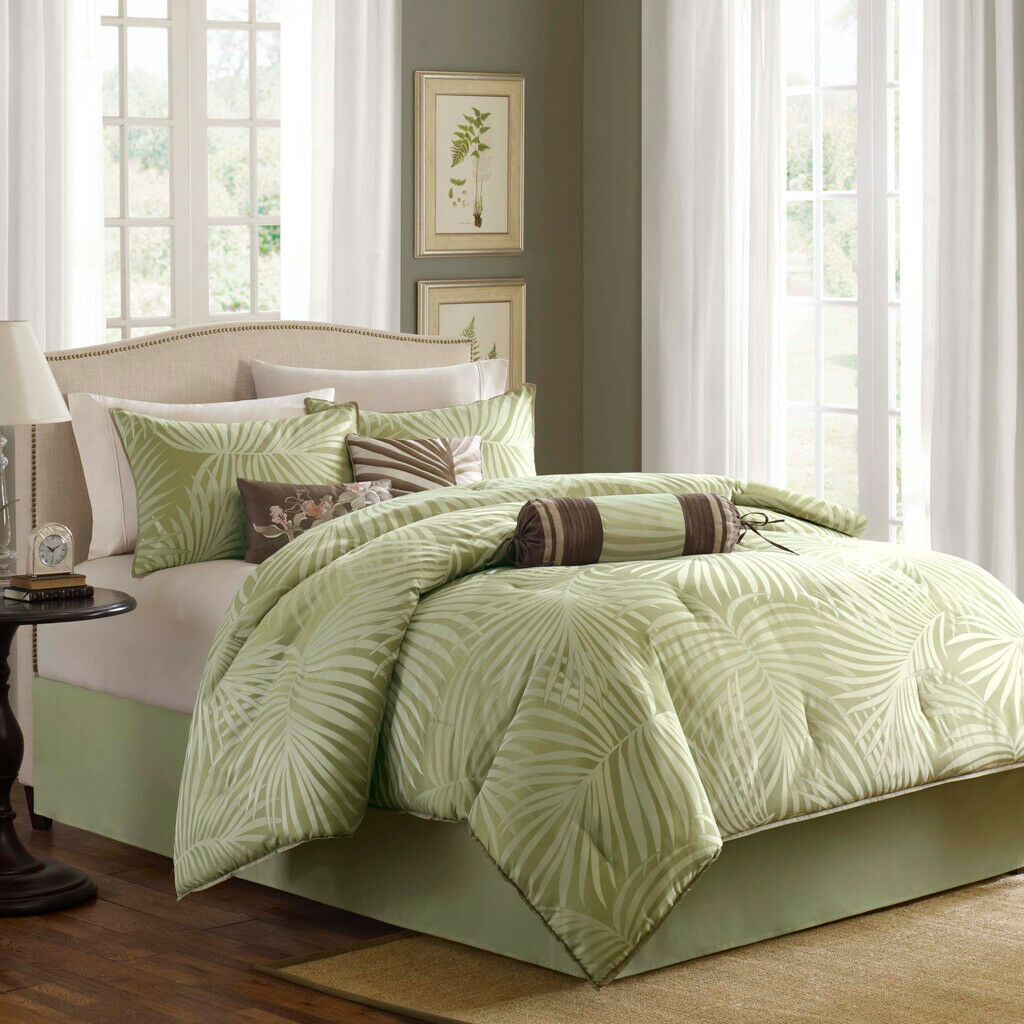 Schön TROPICAL SAGE Grün braun BEACH IVORY PALM TREE LEAF COMFORTER SET
