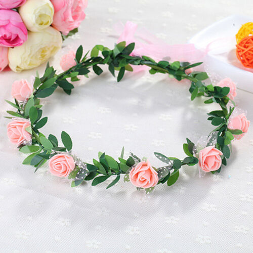 Sweet Girls Women Rose Flower Crown Headband Wreath Party Wedding Headwear UKGB