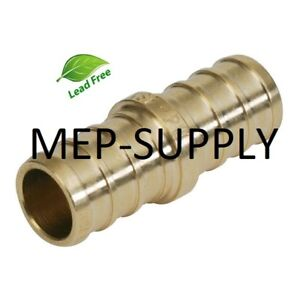 3-4-034-PEX-Coupling-Brass-3-4-inch-crimp-Coupler-Fitting-LEAD-FREE-LOT-OF-10