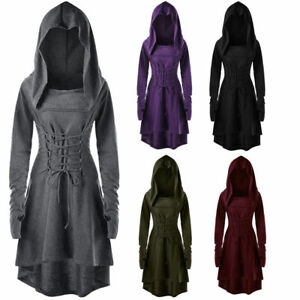 Women Layered Lace Up High Low Hooded Coat Thumb Punk Gothic Criss ... a98215f82