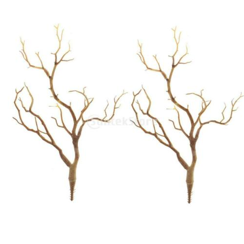 2x Artificial Simulation Tree Branch Stick Twig for Home Garden Decor-Coffee