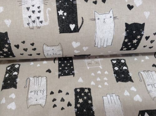 "Fun chats de lin//noir 280cm//108/"" large rideau tissu"