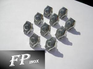 Serre cable PLAT Diamètre Fil 6 mm inox 316 ( Lot de 10 )
