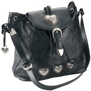 New-Womens-Embassy-Black-Leather-Silver-Heart-Purse-Handbag-Shoulder-Bag-Tote