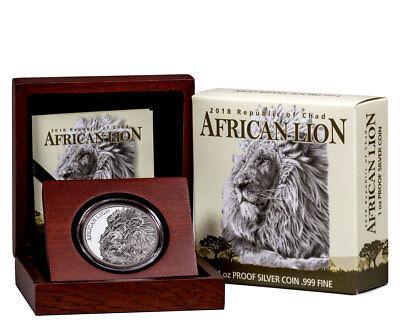 2018 Republic of Chad African Lion 1 oz Silver 5,000F NGC PF70 UC ER SKU51662