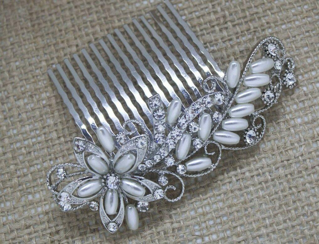 USA seller beautiful wedding bridal flower crystal rhinestone hair comb ha4498