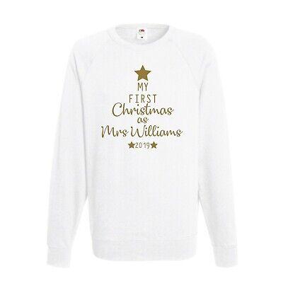 Sweatshirt JH030 Personalised Sweater Bride Last Christmas As Miss Any Name