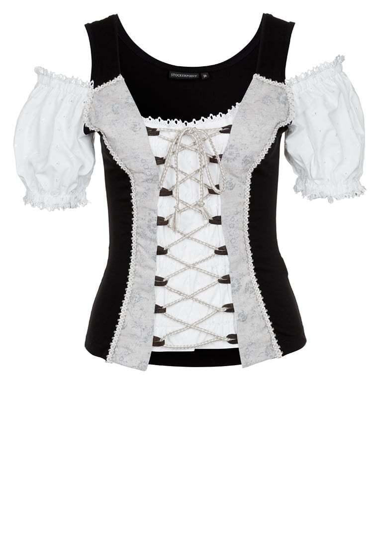 Stockerpoint Costumes Blouses shirt carmenstil May Weiß ou schwarz Oktoberfest