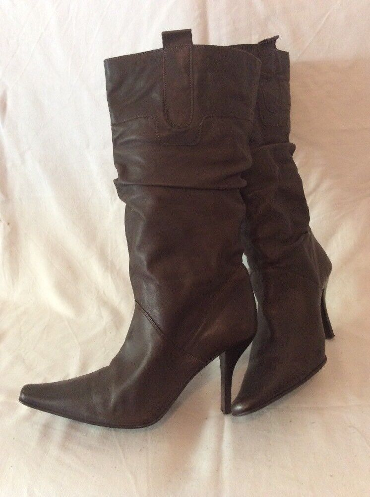 Barratts Brown Mid Calf Leather Boots Size 6