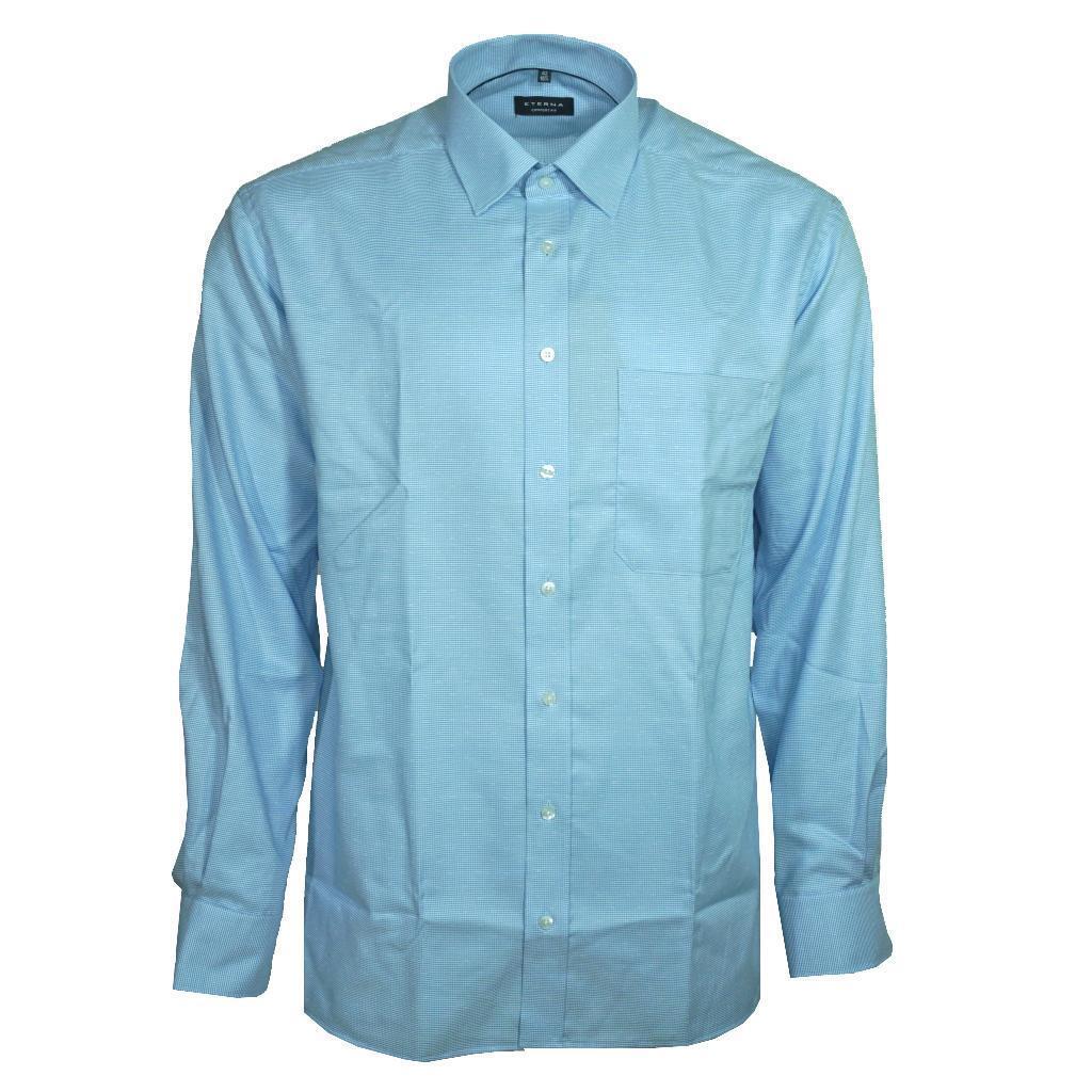Eterna Herrenhemd Langarm Comfort Fit Blau kariert XXL 45 Hemd 8083 12 E19P | Zahlreiche In Vielfalt
