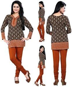 c7c21f437 UK STOCK- Women Casual Indian Brown American Crepe Kurta Top Shirt ...