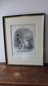 Lithographie-originale-XIXeme-Honore-DAUMIER-1808-1879-034-LES-PAPAS-034-N-1174