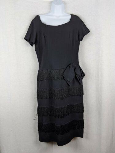 Vintage Handmade 50's Black Fringe Dress