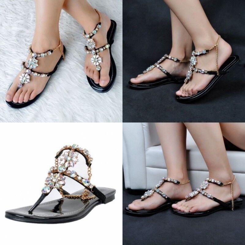 Us 4.5-12.5 Womens Rhinestone Sexy Summer Beach Sandals  Flip Flops Ladies shoes