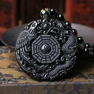 100 /% hand carved Natural obsidian dragon fish pendant Wealth /& necklace