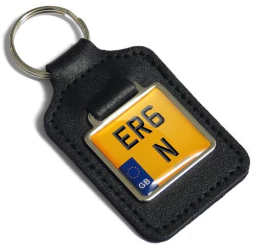 ER6 N Reg Number Plate Leather Keyring Fob for Kawasaki ER-6N  Key