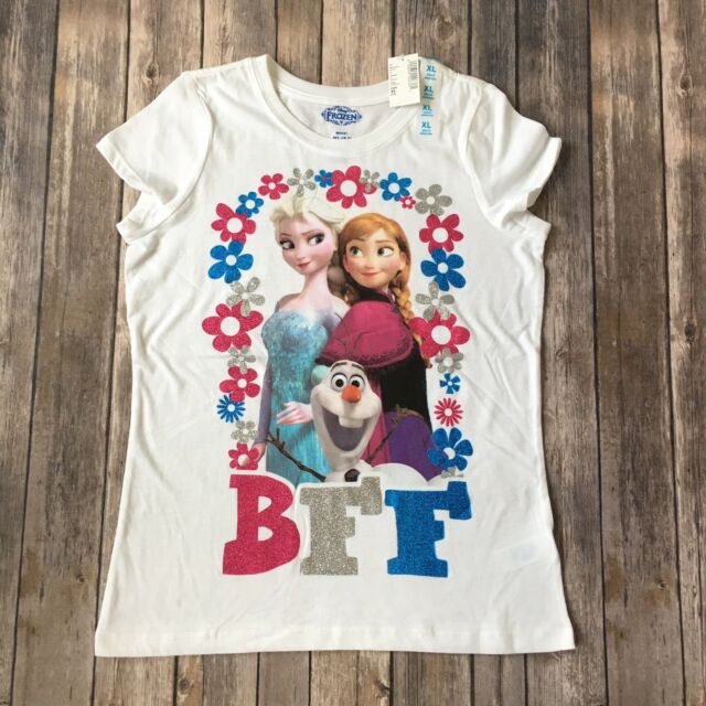 3a2a64217 Disney Frozen Shirt Anna Elsa Olaf Girl XL 14 BFF Cotton Blend Children  Place T