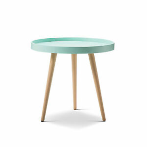 Round-MINT-Scandinavian-Retro-Modern-Tray-Side-Table-w-Wood-Legs-Bed-Living