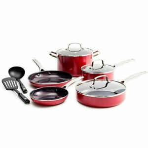 Red Diamond 10-pc. Ceramic Nonstick Cookware Set As Seen on TV - GallyHo