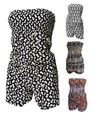 Overall Shorts Jumpsuit Kurzer Bandeau Gr: 34-36-38 Mosaik Punkten Blumen Muster