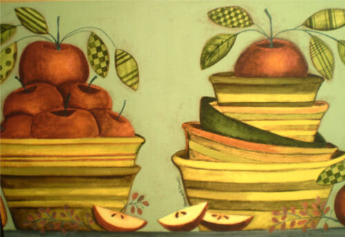 Country Red Apples /& Bowls w// Pears on Green Kitchen Border by Brewster FDB05800