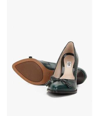 Clarks Deeta Bombay Tacones señoras de cuero verde oscuro/zapatos talla 5/38 D RRP £ 65