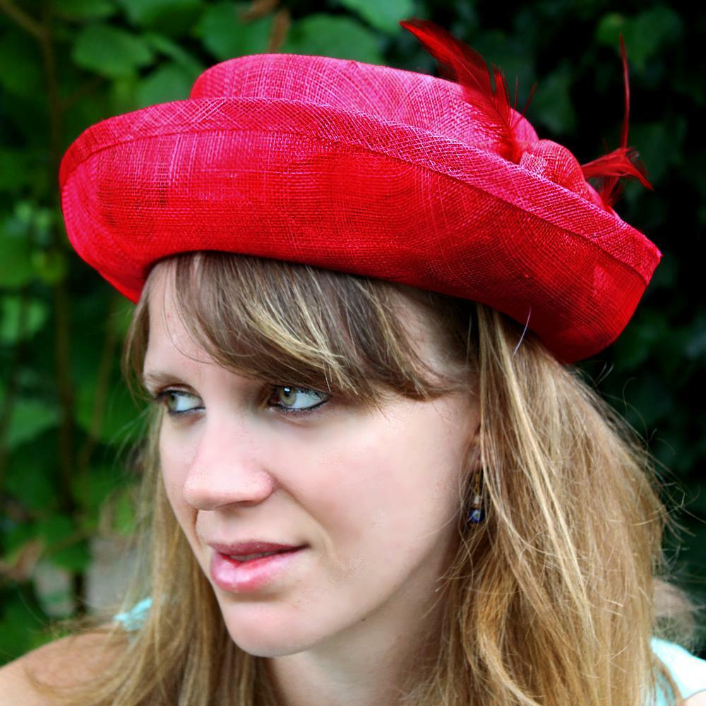 Small flower wedding hat feathers (caramel, black, red) new