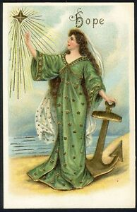 HOPE Postcard c 1910 - Religious Christian Inspirational WOMAN with Anchor STAR