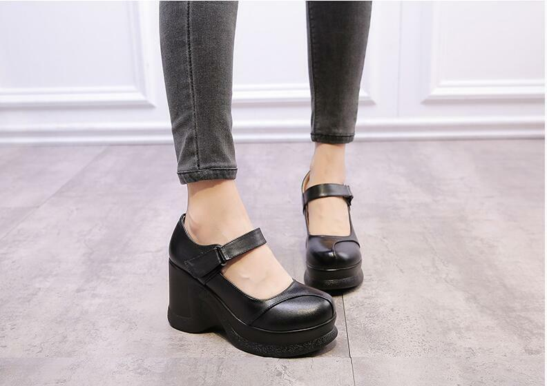 Mary Jane Mujer Retro Puntera Puntera Puntera rojoonda Zapatos De Plataforma De Cuña Con Plataforma De Cuero Grueso  toma