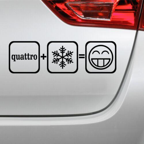 Quattro+Schnee=FUN Aufkleber JDM Decal Winter Shocker Autoaufkleber