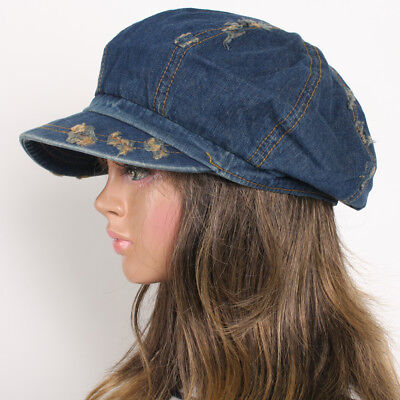 Vintage 8 Panels Jean Denim Applejack Cap Unisex Gatsby Newsboy Driving Ivy Hat