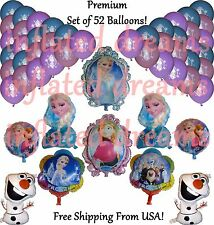 "52 pc Set *Frozen* Balloons Mylar ELSA~ANNA 12"" Latex Birthday Party Disney"