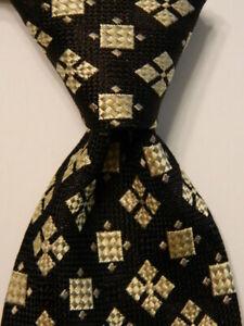 ALLURE-Men-039-s-100-Silk-Necktie-ITALY-Designer-Geometric-Black-Ivory-Tan-EUC-Rare