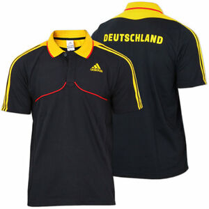 adidas Herren Poloshirt Deutschland Polo Shirt schwarz NEU