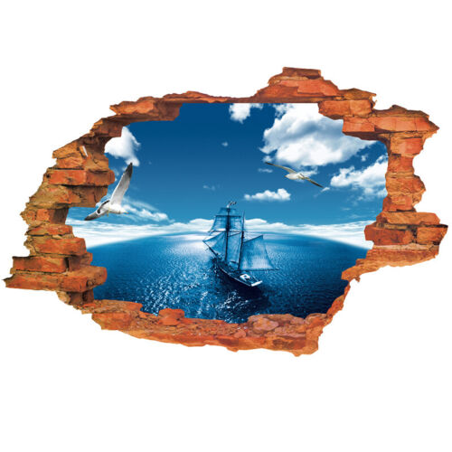 3D Ocean navegación Pegatinas De Pared Salas De Niños Auto-Adhesivo Pared Patrón de ladrillo