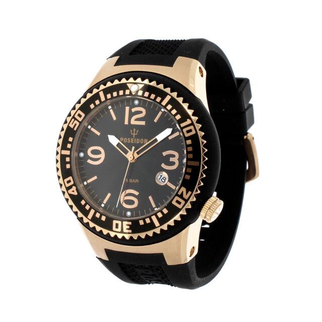 POSEIDON Unisex-Armbanduhr L Analog Silikonband UP00410 Rosé/Schwarz UVP 139,- €