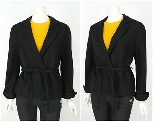 Womens-Basler-Vintage-Blazer-Jacket-Trench-Coat-Navy-Wool-Belted-Size-44-UK18