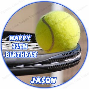 Personalised Tennis Ball Sport Round Edible Icing Birthday Party Cake Topper