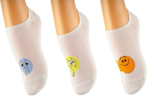 Aurellie Donna decorativi Smileys di No Show Socks 3 Pack Taglia Unica