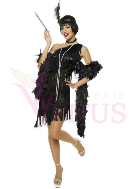 OP Ladies Costume Fancy Dress Up Black Flapper One Shoulder 459 Sz 6,8,10,12,14
