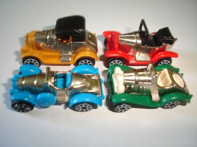 METAL VEHICLES SET - COLORED VINTAGE CARS 2 CHROME 1997 - KINDER SURPRISE TOYS